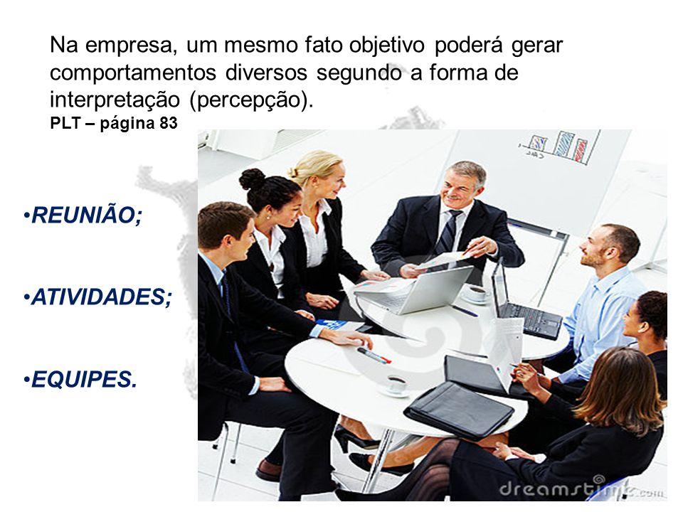 Na empresa, um mesmo fato objetivo poderá gerar comportamentos diversos segundo a forma de interpretação (percepção).