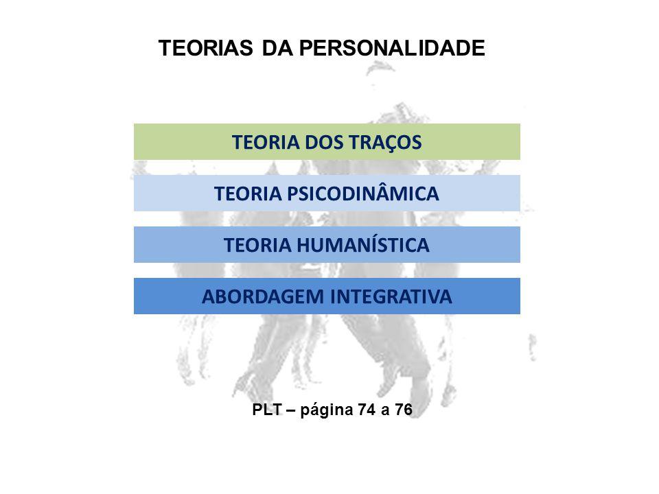 TEORIAS DA PERSONALIDADE TEORIA DOS TRAÇOS TEORIA PSICODINÂMICA TEORIA HUMANÍSTICA ABORDAGEM INTEGRATIVA PLT – página 74 a 76