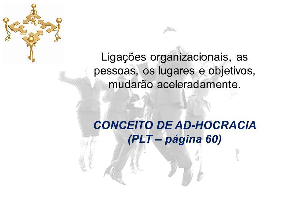 Ligações organizacionais, as pessoas, os lugares e objetivos, mudarão aceleradamente. CONCEITO DE AD-HOCRACIA (PLT – página 60)