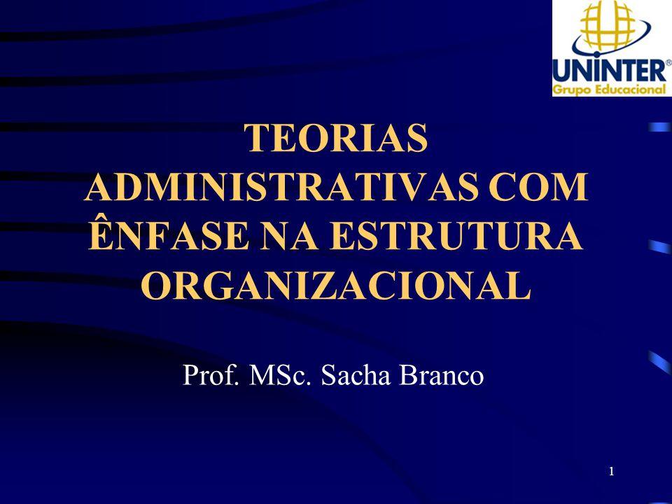 1 TEORIAS ADMINISTRATIVAS COM ÊNFASE NA ESTRUTURA ORGANIZACIONAL Prof. MSc. Sacha Branco