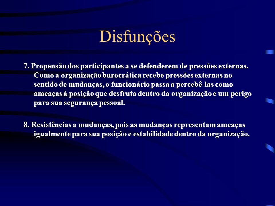 Disfunções 7.Propensão dos participantes a se defenderem de pressões externas.