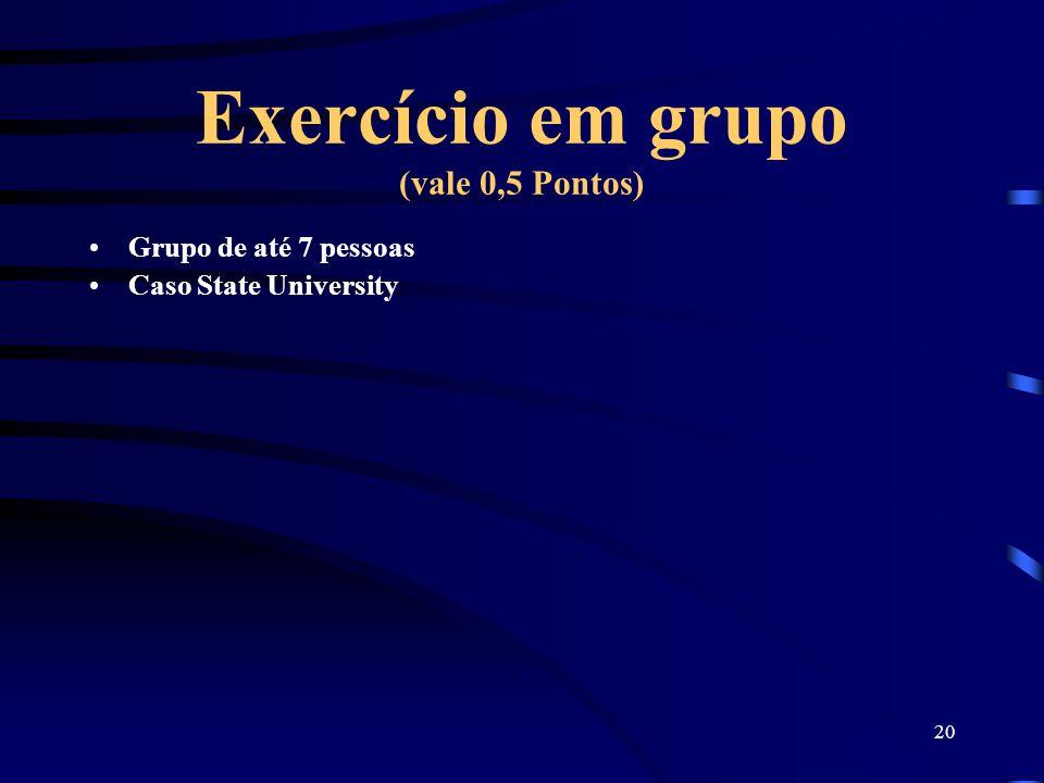20 Exercício em grupo (vale 0,5 Pontos) Grupo de até 7 pessoas Caso State University