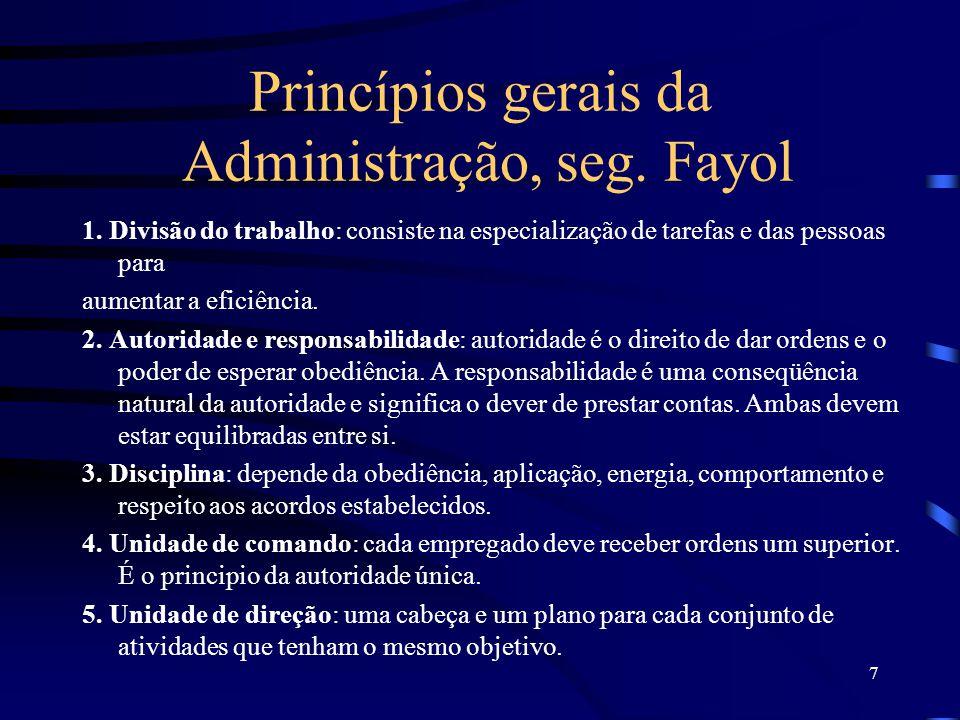 7 Princípios gerais da Administração, seg.Fayol 1.