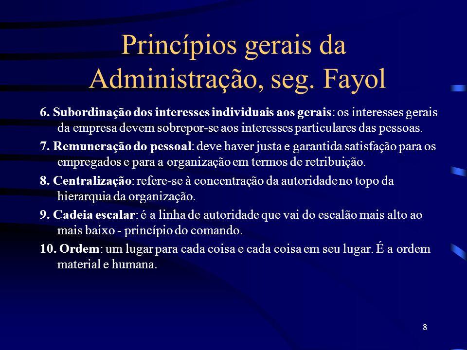 8 Princípios gerais da Administração, seg.Fayol 6.