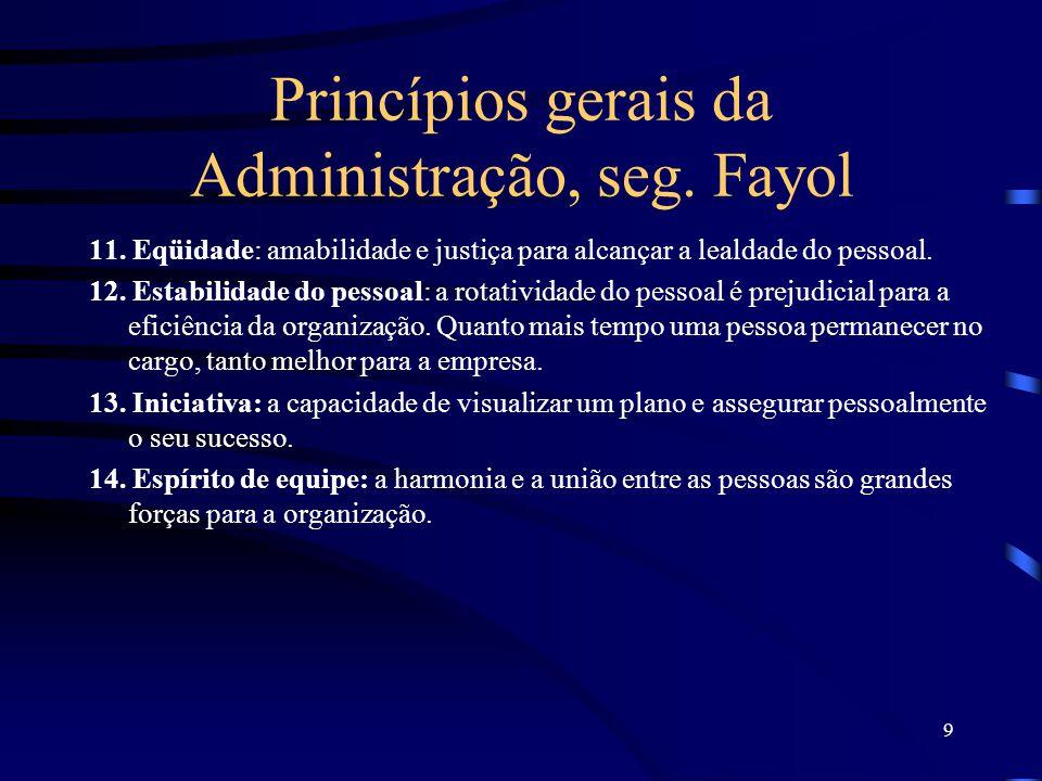 9 Princípios gerais da Administração, seg.Fayol 11.