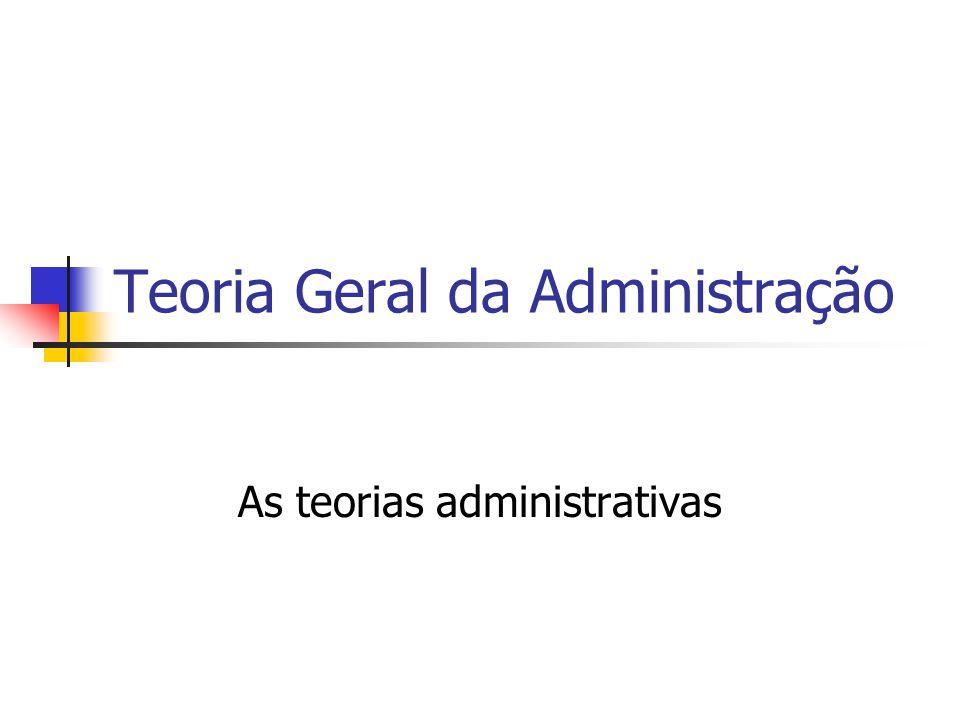 Teoria Geral da Administração As teorias administrativas