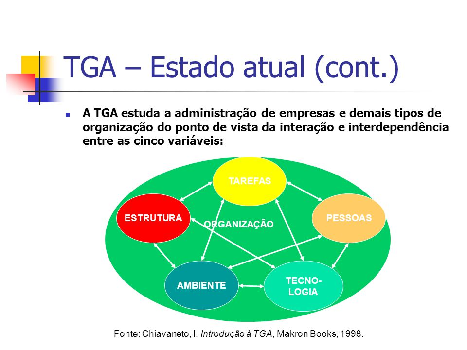 TGA – Estado atual (cont.) A TGA estuda a administração de empresas e demais tipos de organização do ponto de vista da interação e interdependência en
