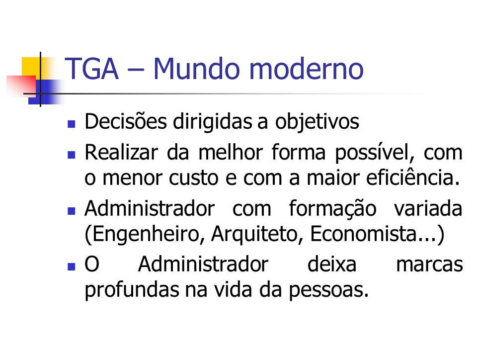 TGA – Mundo moderno Decisões dirigidas a objetivos Realizar da melhor forma possível, com o menor custo e com a maior eficiência. Administrador com fo