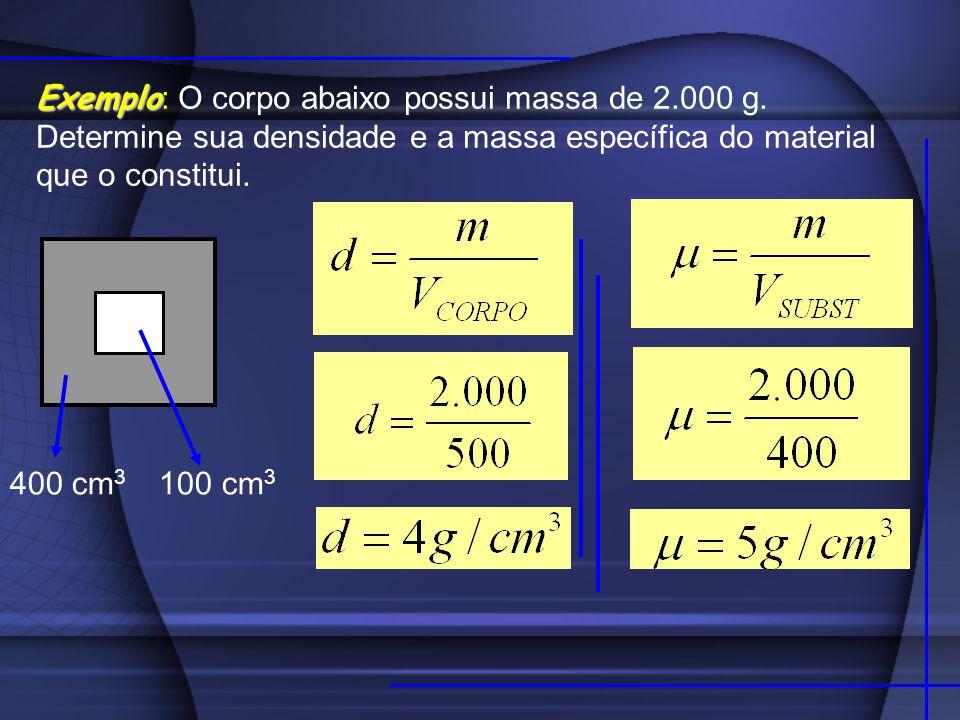 RELAÇÃO ENTRE UNIDADES As unidades mais usadas para a densidade são kg / m 3 e g / cm 3.