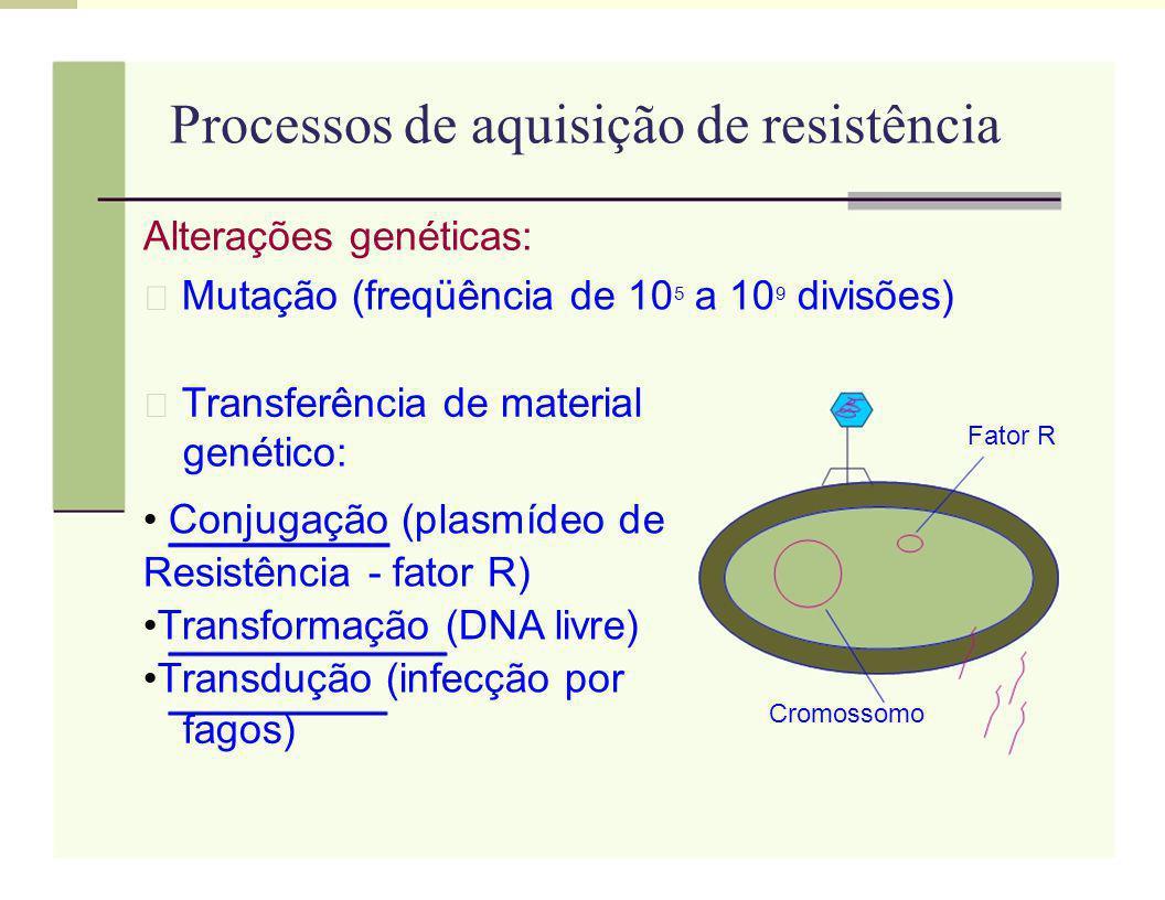 Processos de aquisição de resistência Alterações genéticas: Mutação (freqüência de 10 5 a 10 9 divisões) Transferência de material Fator R genético: C