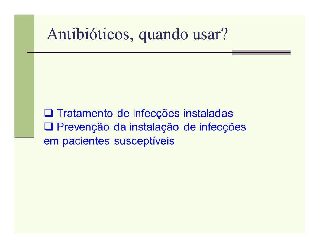 Antibióticos, quando usar? Tratamento de infecções instaladas Prevenção da instalação de infecções em pacientes susceptíveis