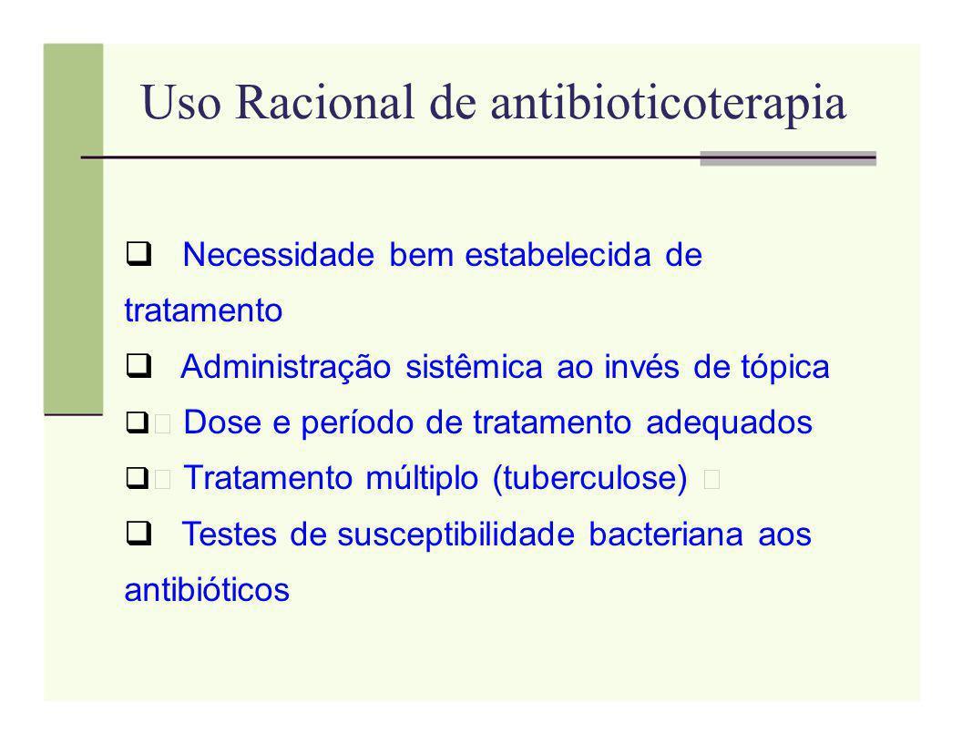 Uso Racional de antibioticoterapia Necessidade bem estabelecida de tratamento Administração sistêmica ao invés de tópica Dose e período de tratamento