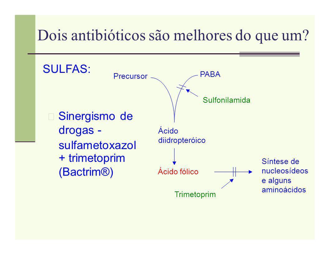 Dois antibióticos são melhores do que um? SULFAS: PABA Precursor Sulfonilamida Sinergismo de Ácido drogas - diidropteróico sulfametoxazol + trimetopri