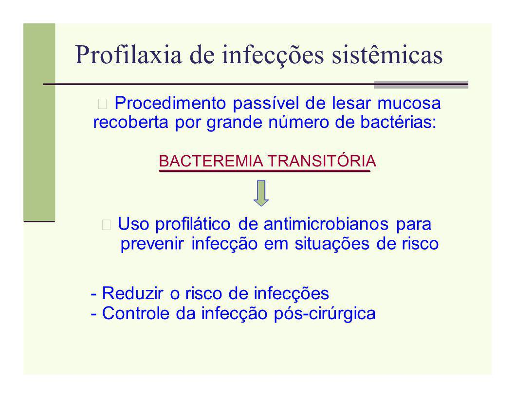 Profilaxia de infecções sistêmicas Procedimento passível de lesar mucosa recoberta por grande número de bactérias: BACTEREMIA TRANSITÓRIA Uso profilát