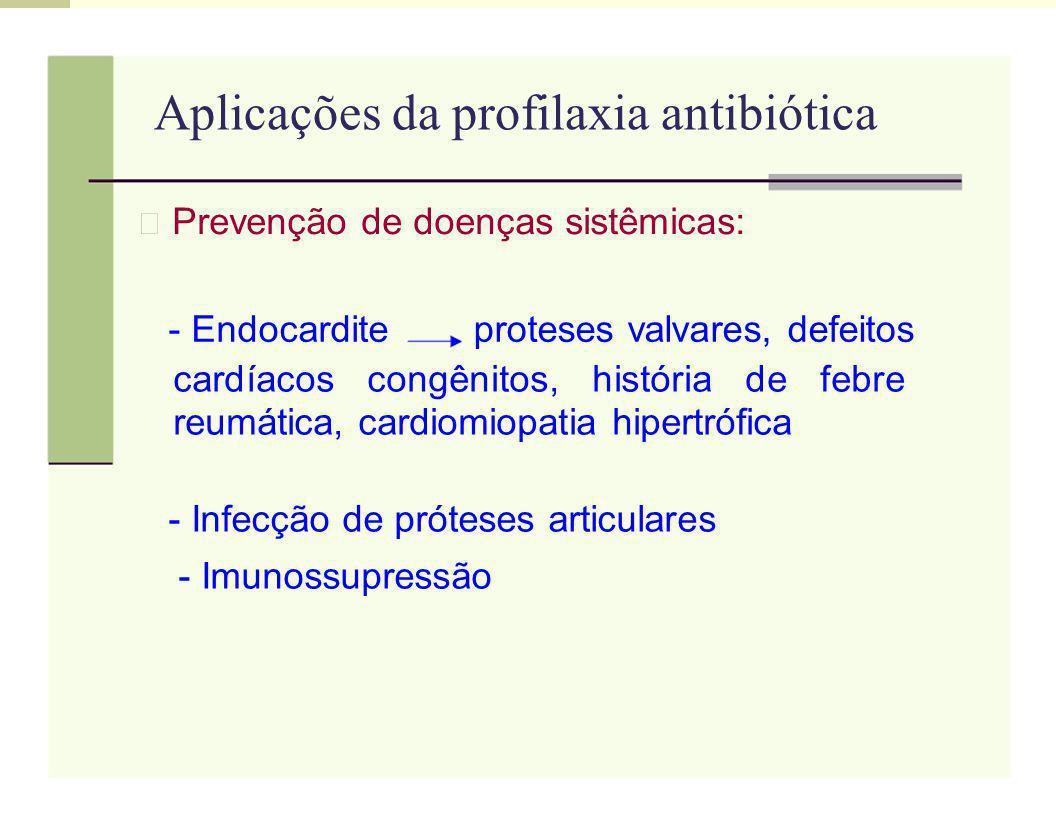 Aplicações da profilaxia antibiótica Prevenção de doenças sistêmicas: - Endocarditeproteses valvares, defeitos cardíacos congênitos, história de febre