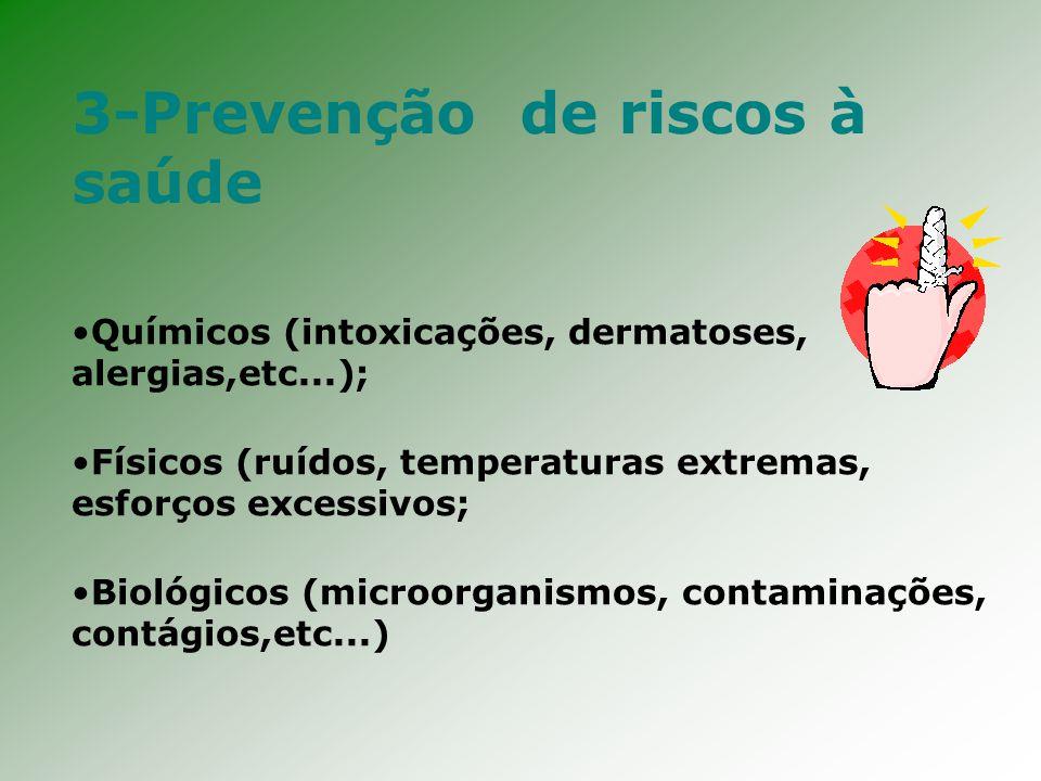 3-Prevenção de riscos à saúde Químicos (intoxicações, dermatoses, alergias,etc...); Físicos (ruídos, temperaturas extremas, esforços excessivos; Biológicos (microorganismos, contaminações, contágios,etc...)