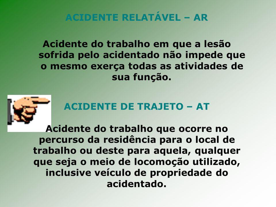 ACIDENTE RELATÁVEL – AR Acidente do trabalho em que a lesão sofrida pelo acidentado não impede que o mesmo exerça todas as atividades de sua função.