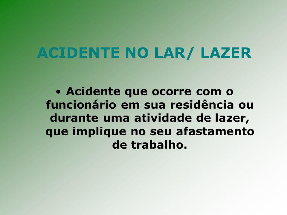 ACIDENTE NO LAR/ LAZER Acidente que ocorre com o funcionário em sua residência ou durante uma atividade de lazer, que implique no seu afastamento de trabalho.