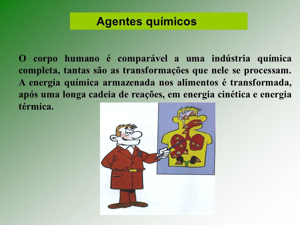 Agentes químicos O corpo humano é comparável a uma indústria química completa, tantas são as transformações que nele se processam.
