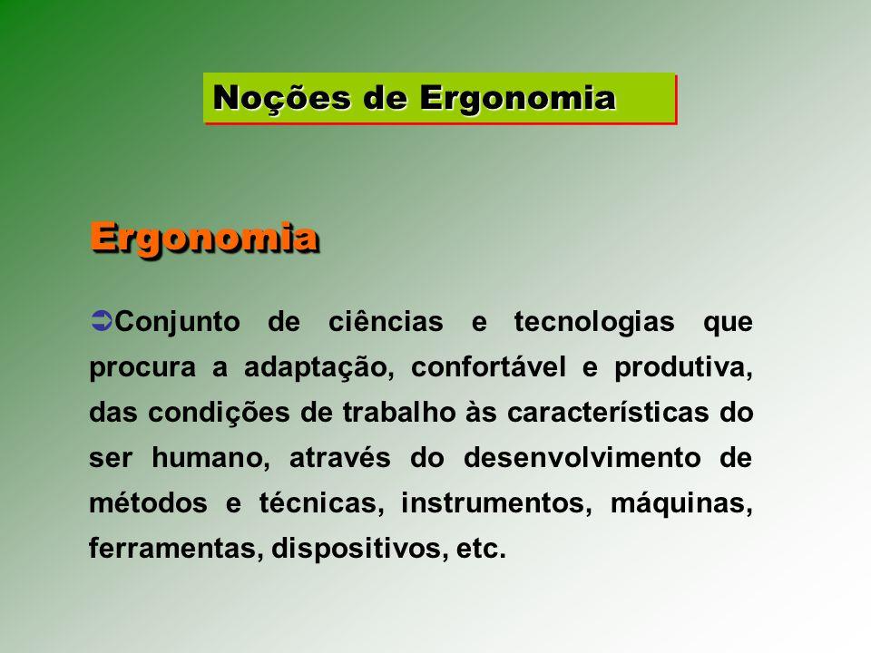 Noções de Ergonomia Conjunto de ciências e tecnologias que procura a adaptação, confortável e produtiva, das condições de trabalho às características do ser humano, através do desenvolvimento de métodos e técnicas, instrumentos, máquinas, ferramentas, dispositivos, etc.