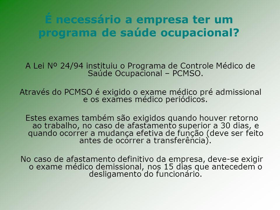 PCMSO – Programa de Controle de Medicina e Saúde Ocupacional - Lei nº 24/94.