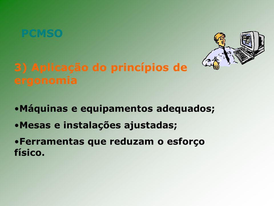 3) Aplicação do princípios de ergonomia Máquinas e equipamentos adequados; Mesas e instalações ajustadas; Ferramentas que reduzam o esforço físico.