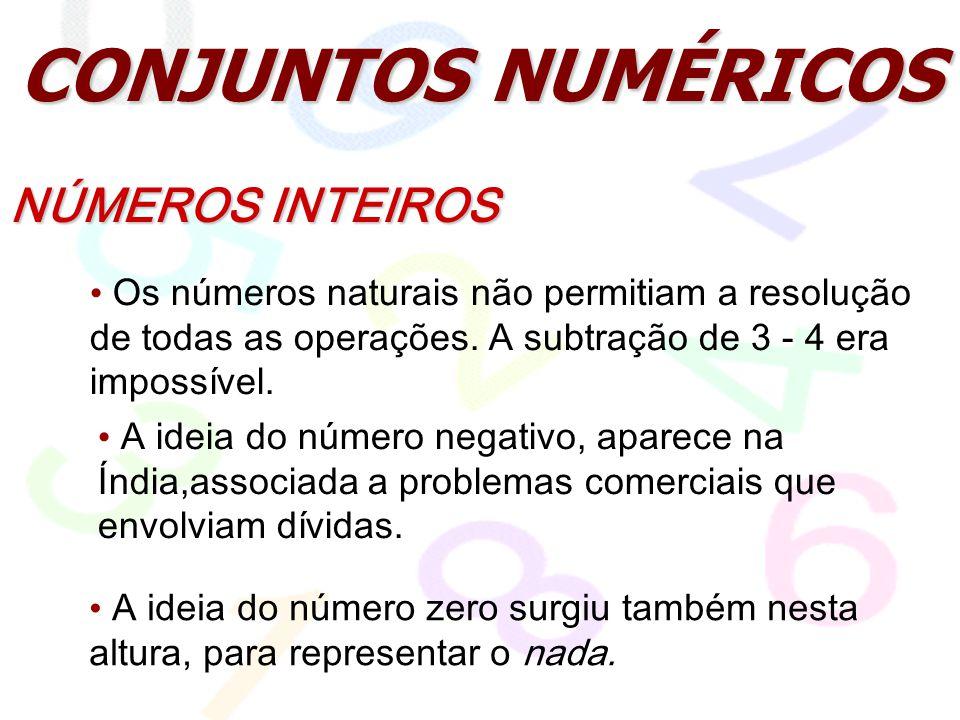 CONJUNTOS NUMÉRICOS NÚMEROS INTEIROS Os números naturais não permitiam a resolução de todas as operações. A subtração de 3 - 4 era impossível. A ideia
