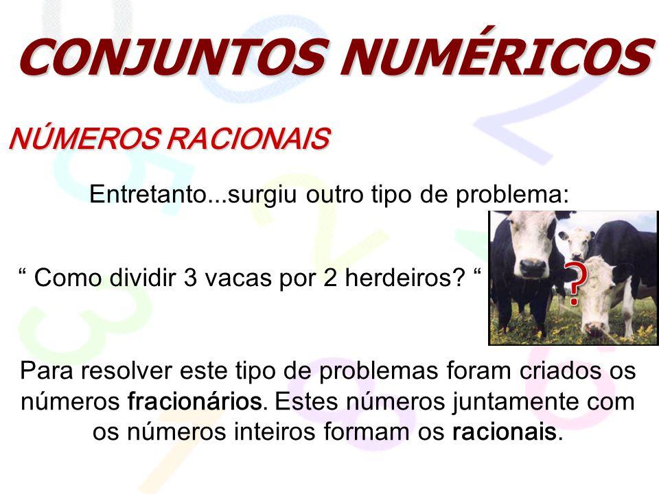 CONJUNTOS NUMÉRICOS NÚMEROS RACIONAIS Entretanto...surgiu outro tipo de problema: Como dividir 3 vacas por 2 herdeiros? Para resolver este tipo de pro