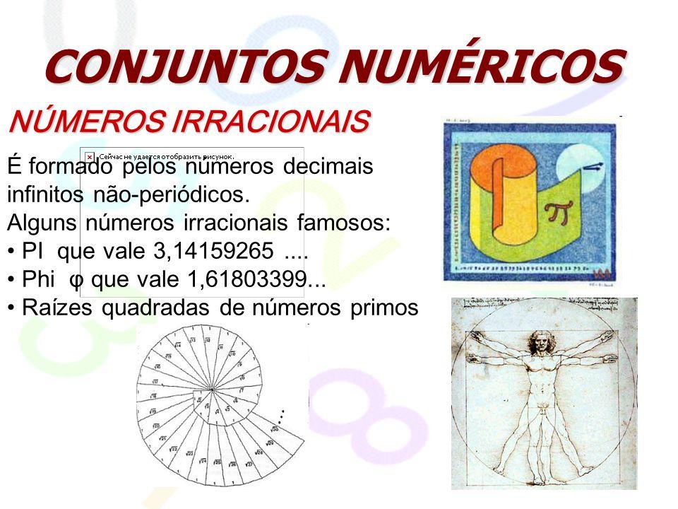 CONJUNTOS NUMÉRICOS NÚMEROS IRRACIONAIS É formado pelos números decimais infinitos não-periódicos. Alguns números irracionais famosos: PI que vale 3,1