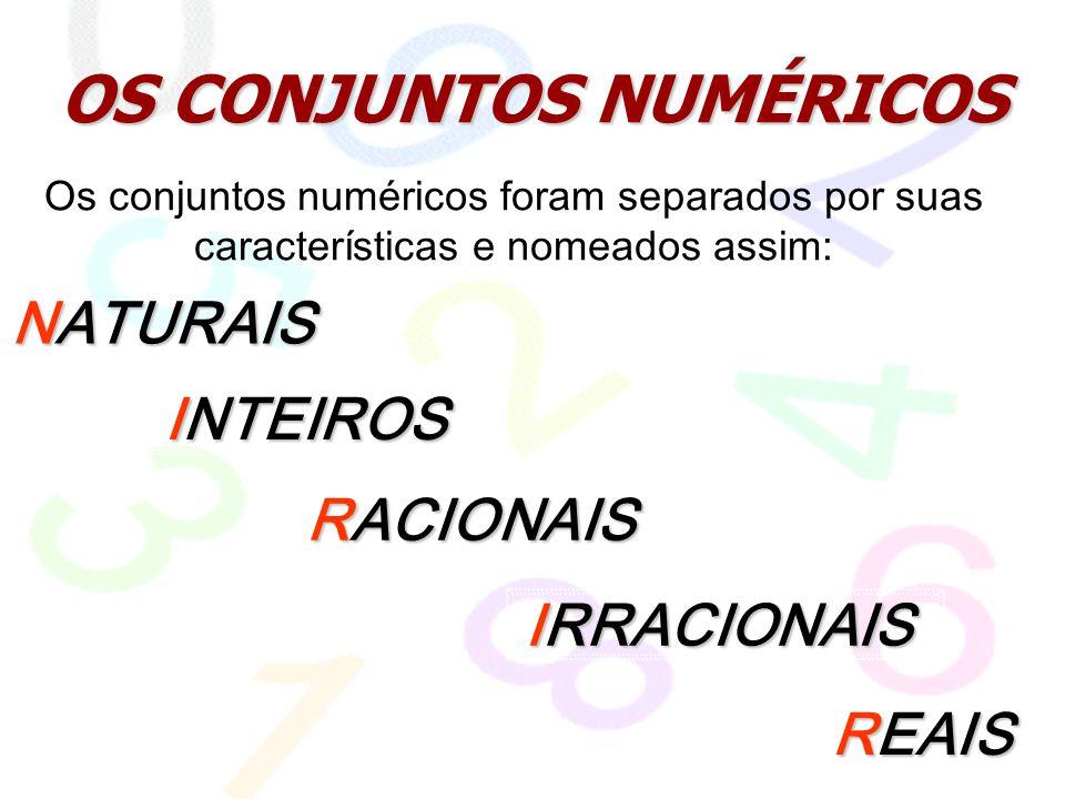 OS CONJUNTOS NUMÉRICOS NATURAIS RACIONAIS REAIS INTEIROS Os conjuntos numéricos foram separados por suas características e nomeados assim: IRRACIONAIS