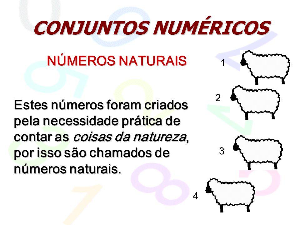 CONJUNTOS NUMÉRICOS NÚMEROS NATURAIS Estes números foram criados pela necessidade prática de contar as coisas da natureza, por isso são chamados de números naturais.