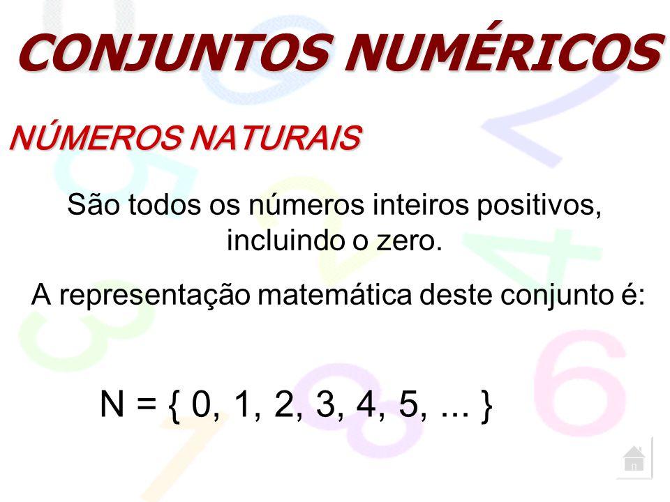 CONJUNTOS NUMÉRICOS NÚMEROS NATURAIS São todos os números inteiros positivos, incluindo o zero. A representação matemática deste conjunto é: N = { 0,