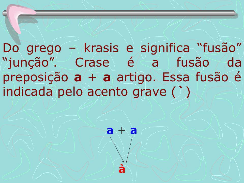 Do grego – krasis e significa fusão junção.Crase é a fusão da preposição a + a artigo.