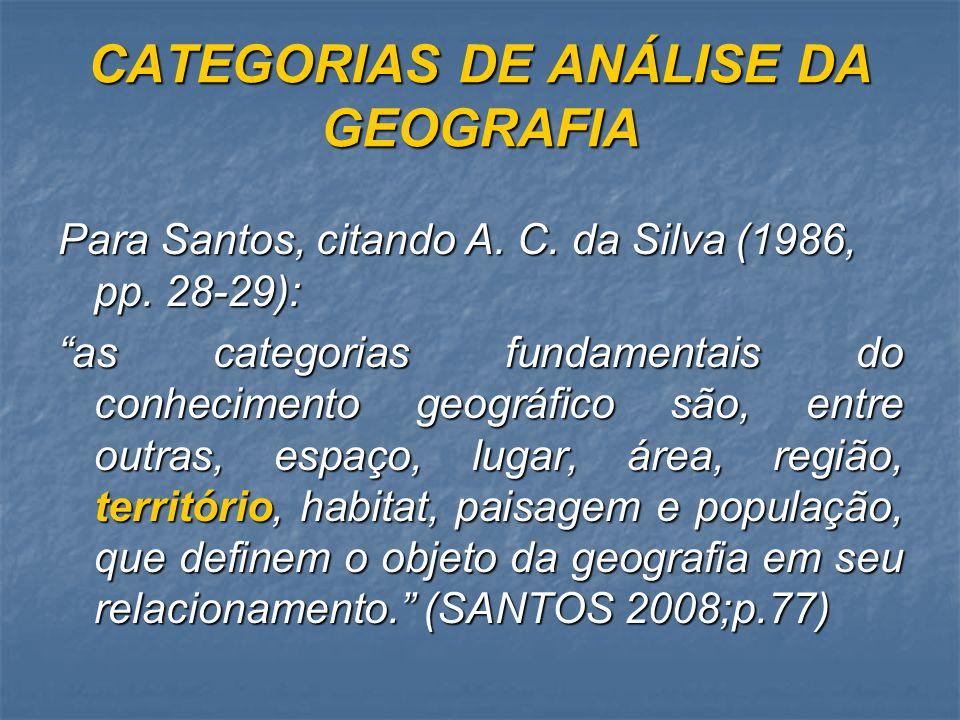 CATEGORIAS DE ANÁLISE DA GEOGRAFIA Para Santos, citando A. C. da Silva (1986, pp. 28-29): as categorias fundamentais do conhecimento geográfico são, e