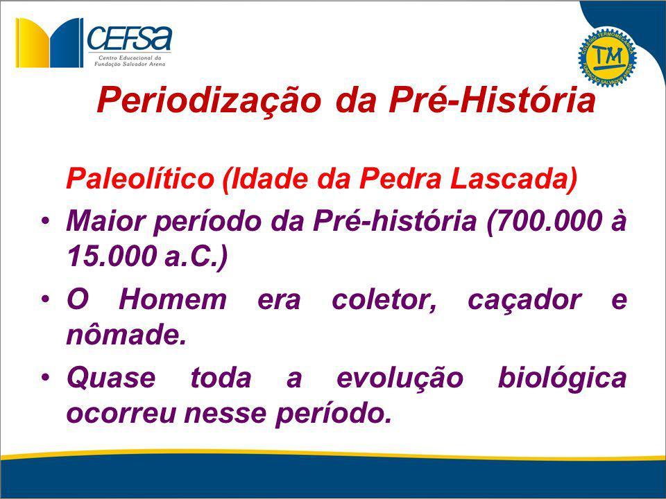 Periodização da Pré-História Paleolítico (Idade da Pedra Lascada) Maior período da Pré-história (700.000 à 15.000 a.C.) O Homem era coletor, caçador e