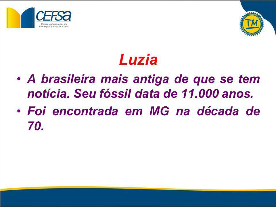 Luzia A brasileira mais antiga de que se tem notícia. Seu fóssil data de 11.000 anos. Foi encontrada em MG na década de 70.