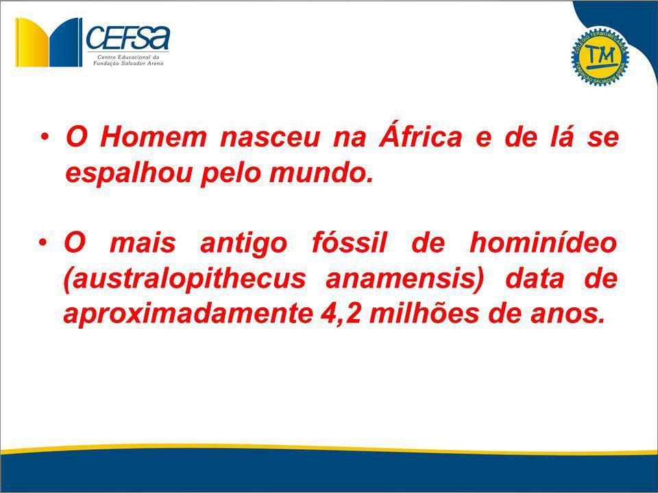 O Homem nasceu na África e de lá se espalhou pelo mundo. O mais antigo fóssil de hominídeo (australopithecus anamensis) data de aproximadamente 4,2 mi