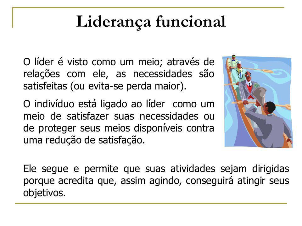 Liderança funcional O líder é visto como um meio; através de relações com ele, as necessidades são satisfeitas (ou evita-se perda maior). O indivíduo