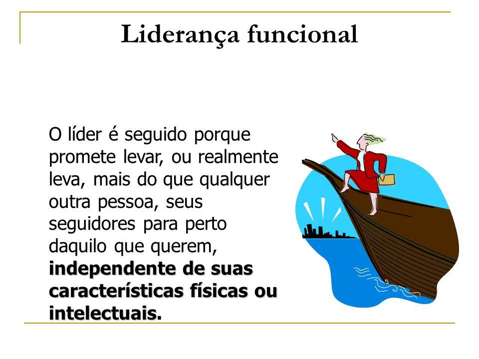 Liderança funcional independente de suas características físicas ou intelectuais O líder é seguido porque promete levar, ou realmente leva, mais do qu