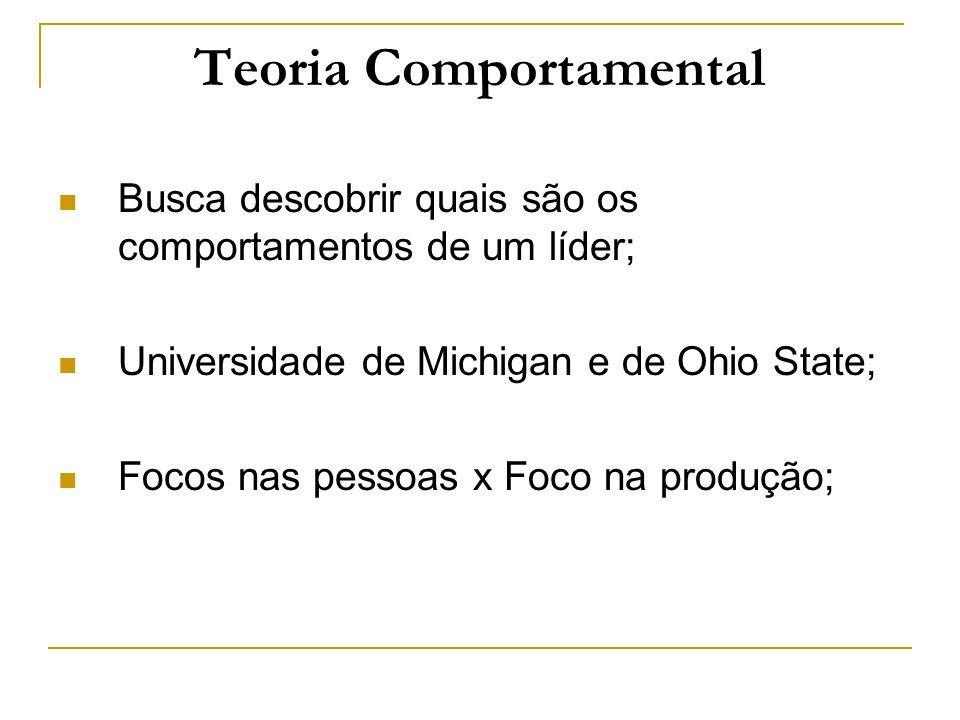 Teoria Comportamental Busca descobrir quais são os comportamentos de um líder; Universidade de Michigan e de Ohio State; Focos nas pessoas x Foco na p