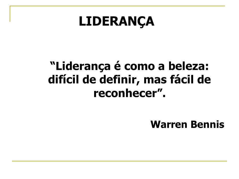 LIDERANÇA Liderança é como a beleza: difícil de definir, mas fácil de reconhecer. Warren Bennis