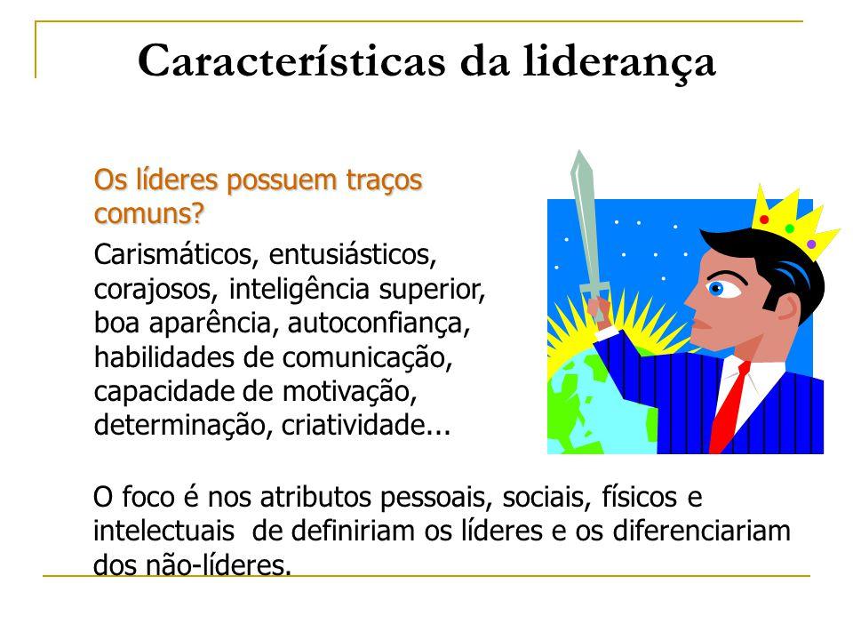 Características da liderança Os líderes possuem traços comuns? Carismáticos, entusiásticos, corajosos, inteligência superior, boa aparência, autoconfi