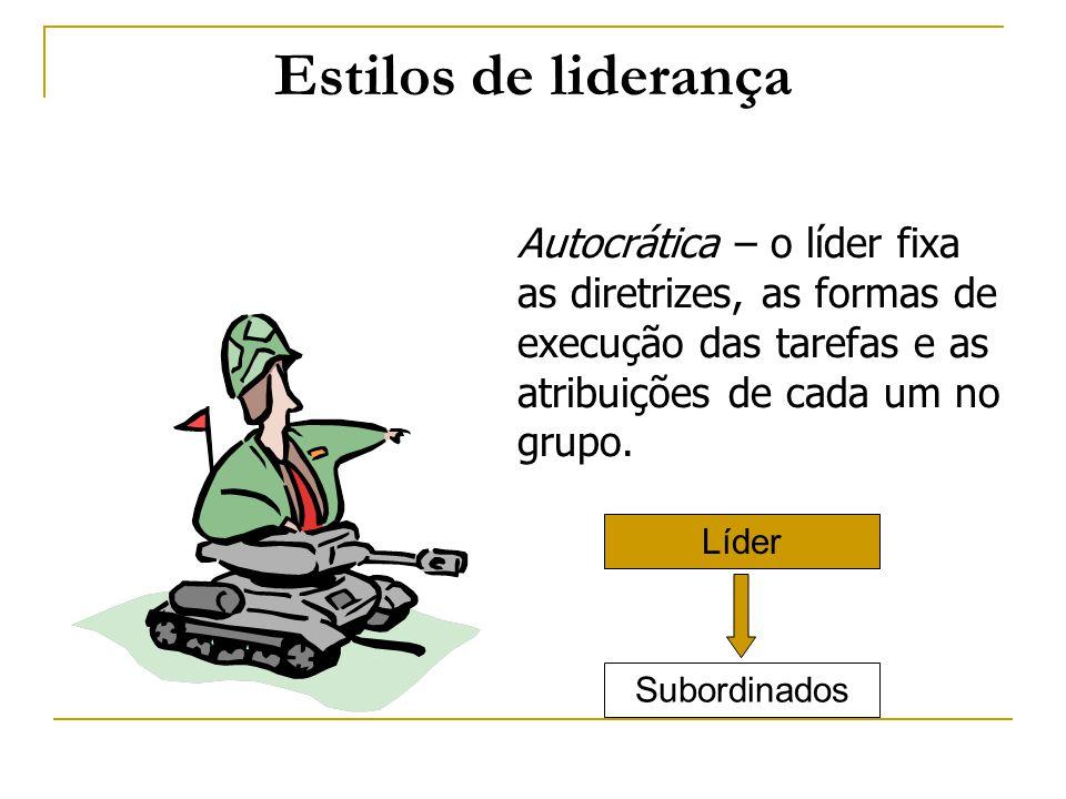 Estilos de liderança Autocrática – o líder fixa as diretrizes, as formas de execução das tarefas e as atribuições de cada um no grupo. Subordinados Lí