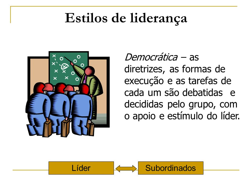 Estilos de liderança Democrática – as diretrizes, as formas de execução e as tarefas de cada um são debatidas e decididas pelo grupo, com o apoio e es
