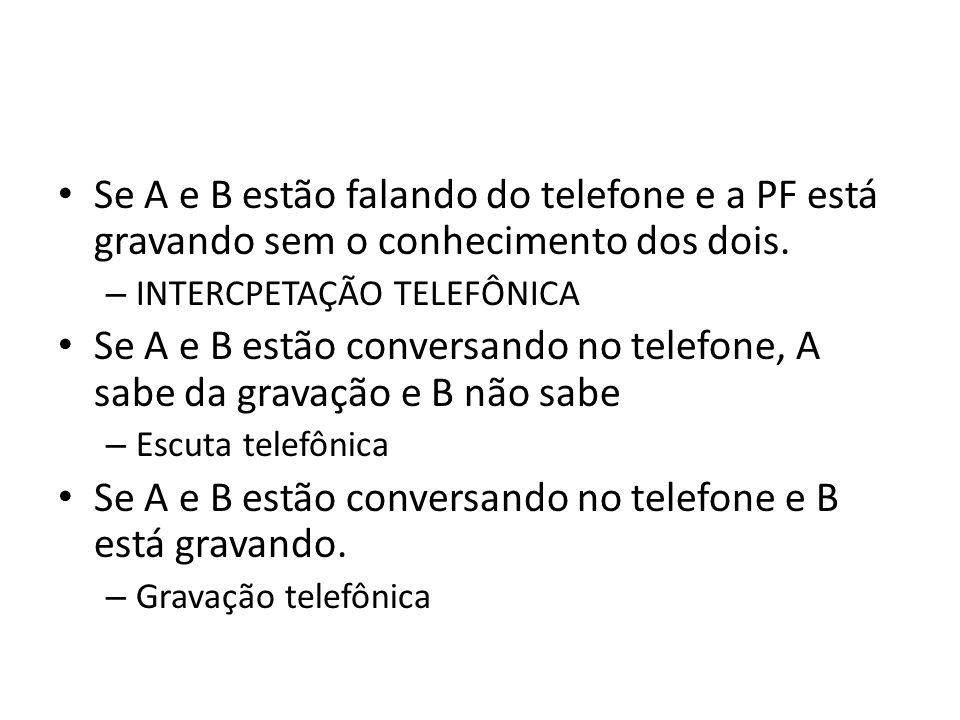 Se A e B estão falando do telefone e a PF está gravando sem o conhecimento dos dois. – INTERCPETAÇÃO TELEFÔNICA Se A e B estão conversando no telefone