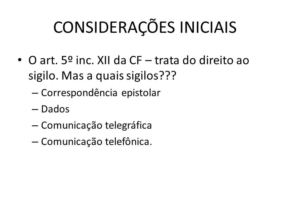 CONSIDERAÇÕES INICIAIS O art. 5º inc. XII da CF – trata do direito ao sigilo. Mas a quais sigilos??? – Correspondência epistolar – Dados – Comunicação