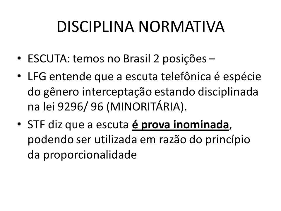 DISCIPLINA NORMATIVA ESCUTA: temos no Brasil 2 posições – LFG entende que a escuta telefônica é espécie do gênero interceptação estando disciplinada n