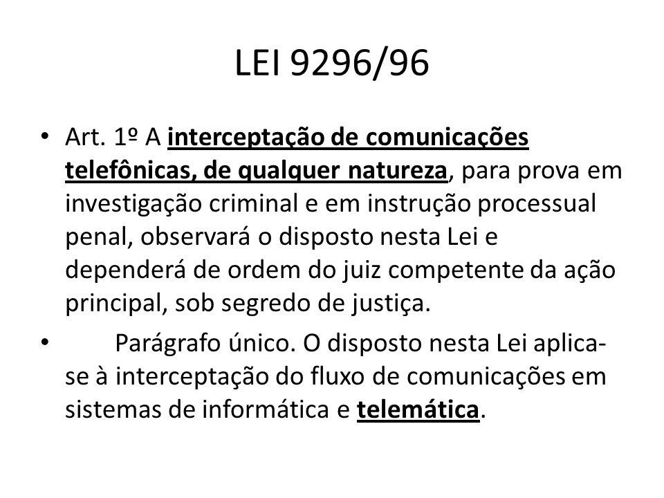 LEI 9296/96 Art. 1º A interceptação de comunicações telefônicas, de qualquer natureza, para prova em investigação criminal e em instrução processual p