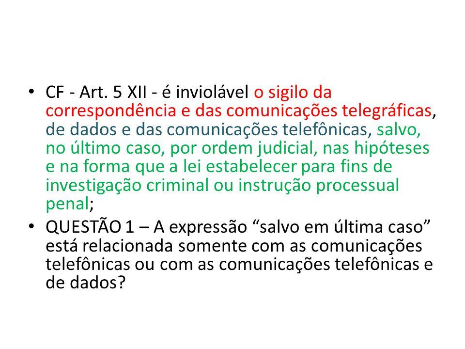 CF - Art. 5 XII - é inviolável o sigilo da correspondência e das comunicações telegráficas, de dados e das comunicações telefônicas, salvo, no último