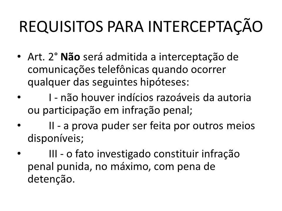 REQUISITOS PARA INTERCEPTAÇÃO Art. 2° Não será admitida a interceptação de comunicações telefônicas quando ocorrer qualquer das seguintes hipóteses: I